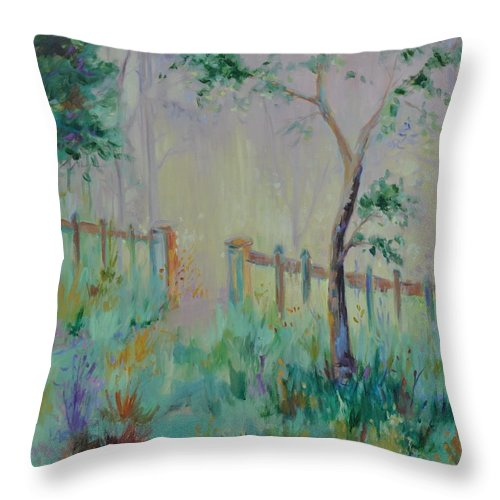 Garden Throw Pillow featuring the painting Garden And Beyond by Ginger Concepcion