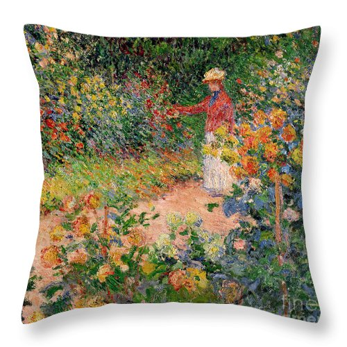 Garden Throw Pillow featuring the painting Garden At Giverny by Claude Monet