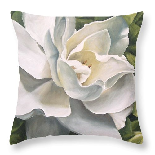 Flower Throw Pillow featuring the painting Gardenia by Natalia Tejera