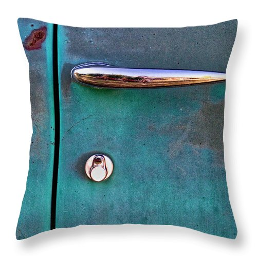 Gasoline Alley Throw Pillow featuring the photograph Gasoline Alley Faded Paint And Rust by Carol Leigh