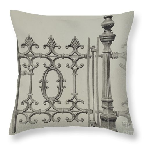 Throw Pillow featuring the drawing Gate And Gatepost by Jerome Hoxie