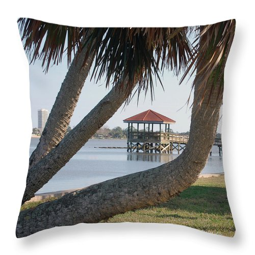 Dock Throw Pillow featuring the digital art Gazebo Dock Framed By Leaning Palms by DigiArt Diaries by Vicky B Fuller