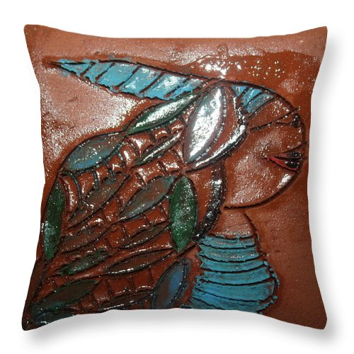 Jesus Throw Pillow featuring the ceramic art Gena - Tile by Gloria Ssali