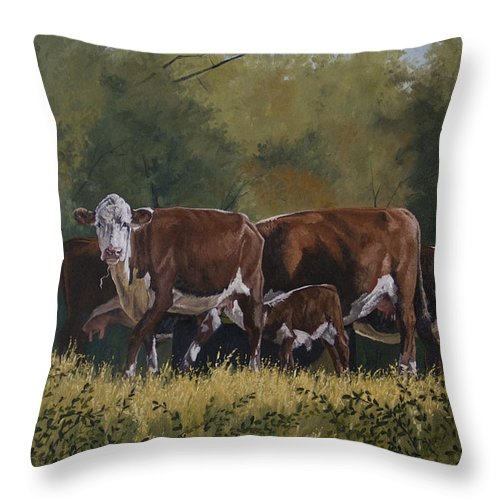 Landscape Throw Pillow featuring the painting Generations by Peter Muzyka