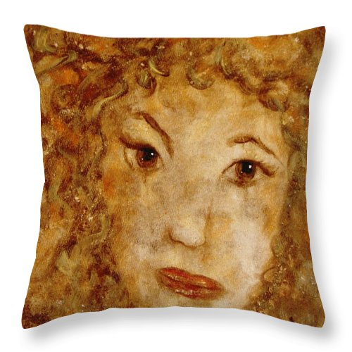 Free Expressionism Throw Pillow featuring the painting Gentle Lady by Natalie Holland