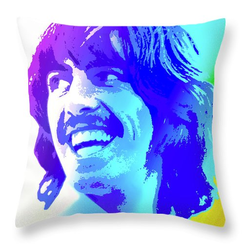 George Harrison Throw Pillow featuring the digital art George Harrison by Greg Joens