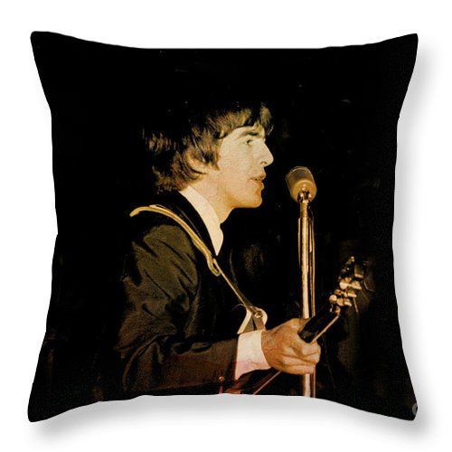 Beatles Throw Pillow featuring the photograph George Harrison by Larry Mulvehill