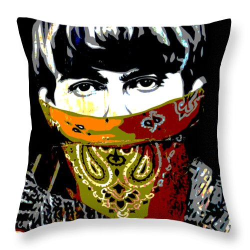 Banksy Throw Pillow featuring the photograph George Harrison wearing a face mask by RicardMN Photography