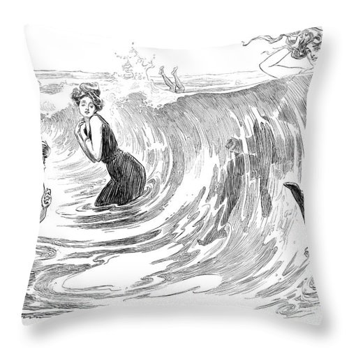 1902 Throw Pillow featuring the photograph Gibson: Bather, 1902 by Granger