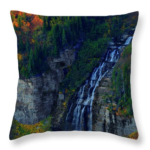 Glacier Throw Pillow featuring the photograph Glacier Waterfall by Roy Nierdieck