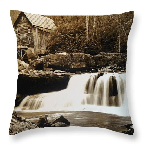 West Virginia Throw Pillow featuring the photograph Glade Creek Grist Mill by Jack Paolini