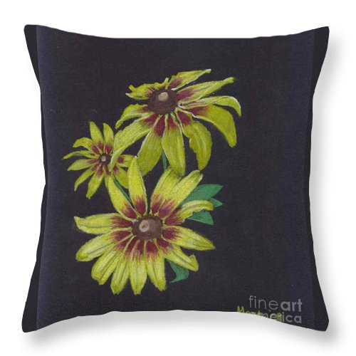 Daisy Throw Pillow featuring the pastel Gloriosa Daisy by Mendy Pedersen