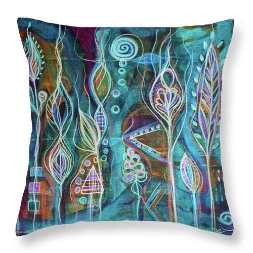 Intuitive Art Throw Pillow featuring the painting Glow by Angel Fritz