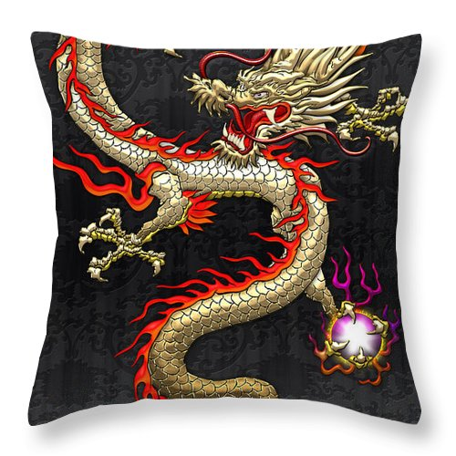 Treasures Of China By Serge Averbukh Throw Pillow featuring the photograph Golden Chinese Dragon Fucanglong by Serge Averbukh