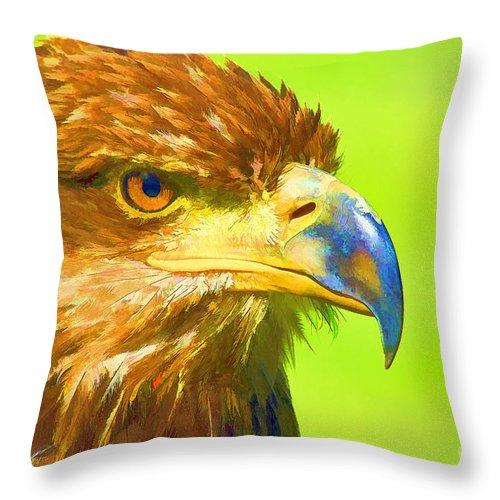 Bird Throw Pillow featuring the digital art Golden Eagle by Teresa Zieba