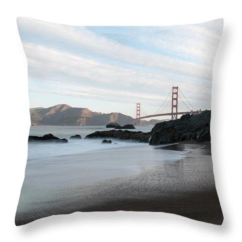 Golden Throw Pillow featuring the photograph Golden Gate Bridge by Wim Slootweg