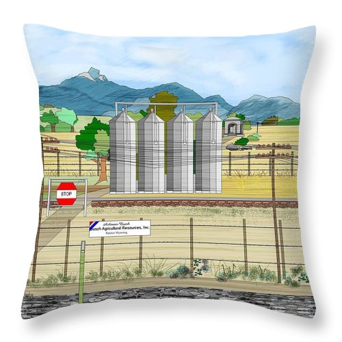 Wyoming Throw Pillow featuring the painting Grain Elevators At Ralston by Anne Norskog