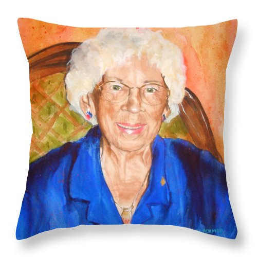 Portrait Throw Pillow featuring the painting Granny by Jean Blackmer