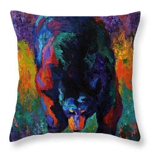 Bear Throw Pillow featuring the painting Grounded - Black Bear by Marion Rose