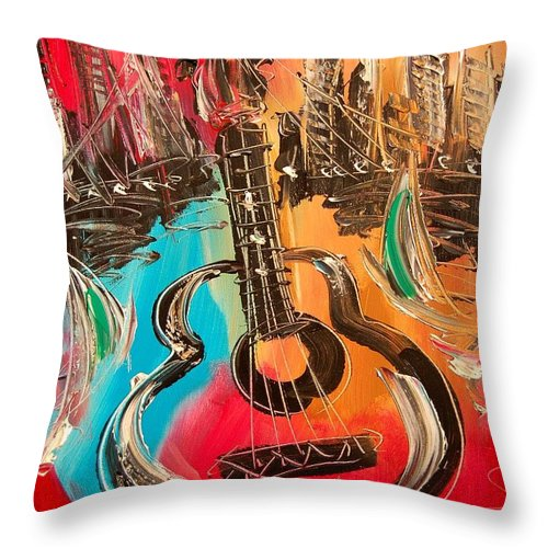 Guitar Music Throw Pillow featuring the painting Guitar by Mark Kazav