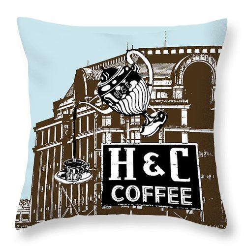 H Throw Pillow featuring the photograph H And C Coffee Sign Roanoke Virginia by Teresa Mucha