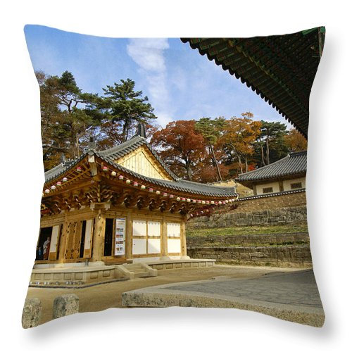 Buddhist Throw Pillow featuring the photograph Haeinsa Buddhist Temple by Michele Burgess