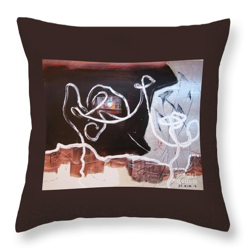 Abstract Paintings Throw Pillow featuring the painting Hand In Hand by Seon-Jeong Kim
