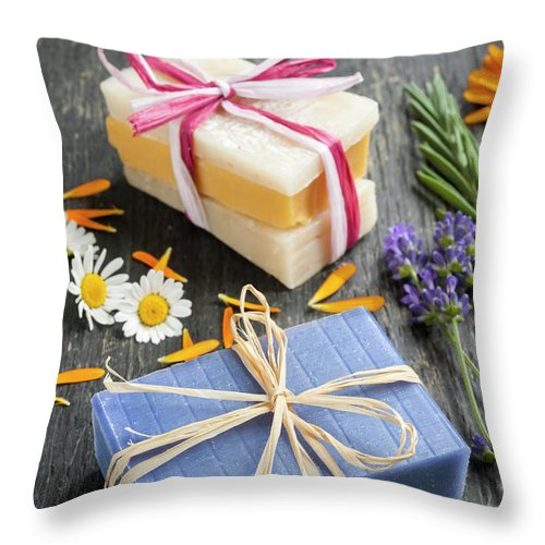 Soaps Throw Pillow featuring the photograph Handmade Soaps With Herbs by Elena Elisseeva