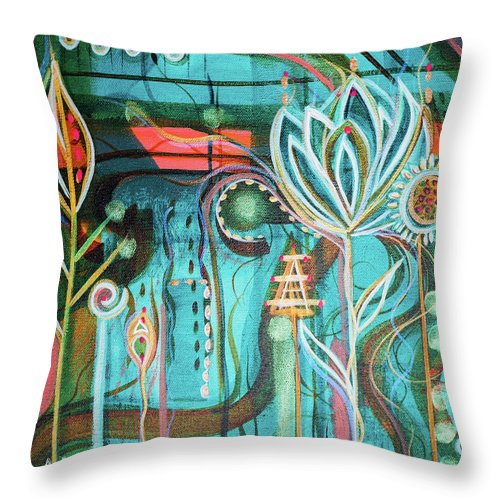 Intuitive Art Throw Pillow featuring the painting Happy by Angel Fritz