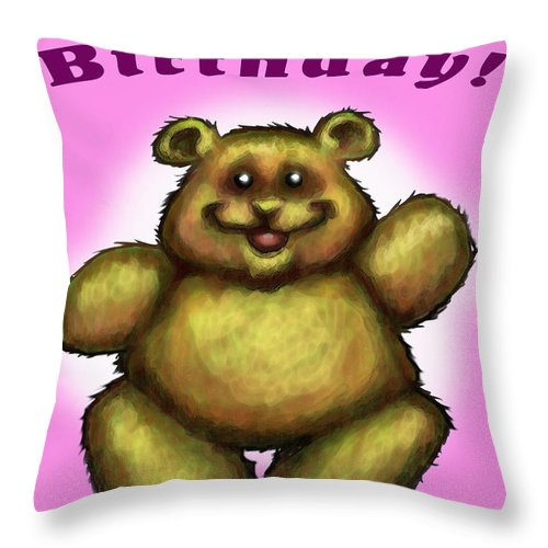 Pink Throw Pillow featuring the greeting card Happy Birthday Bear by Kevin Middleton