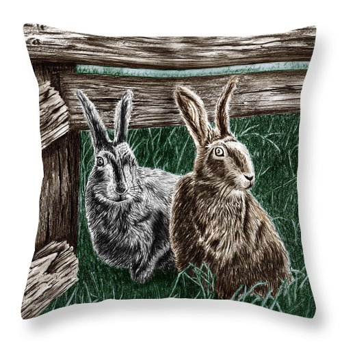 Hare Line Throw Pillow featuring the drawing Hare Line by Peter Piatt