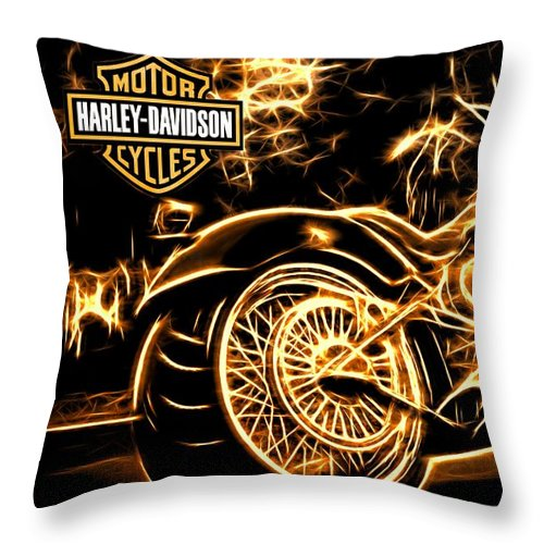 Harley-davidson Throw Pillow featuring the photograph Harley-davidson by Aaron Berg