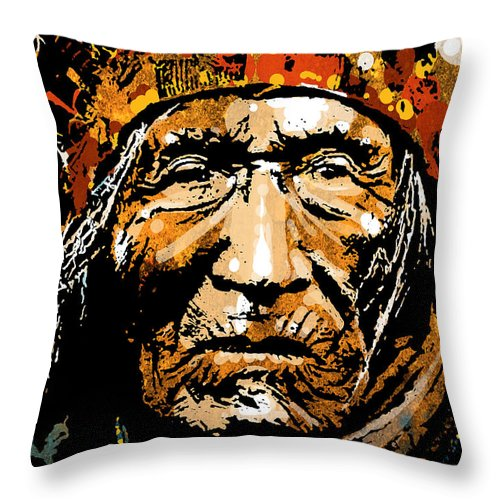 Native American Throw Pillow featuring the painting He Dog by Paul Sachtleben