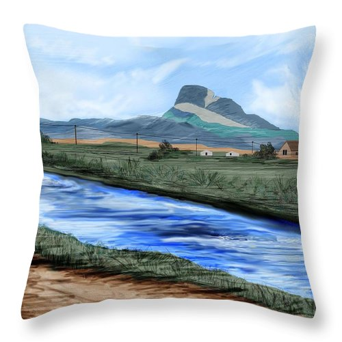 Heart Mountain Throw Pillow featuring the painting Heart Mountain And The Canal by Anne Norskog