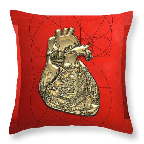 �inner Workings� Collection By Serge Averbukh Throw Pillow featuring the photograph Heart of Gold - Golden Human Heart on Red Canvas by Serge Averbukh