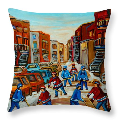 Heat Of The Game Throw Pillow featuring the painting Heat Of The Game by Carole Spandau