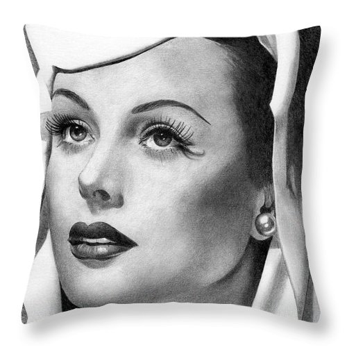 Hedy Lamarr Throw Pillow featuring the drawing Hedy Lamarr by Karen Townsend