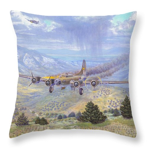 99th Bomb Group Throw Pillow featuring the painting Her Majestys Last Landing by Scott Robertson
