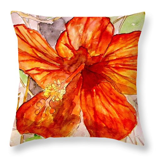 Hibiscus Throw Pillow featuring the painting Hibiscus 2 by Derek Mccrea