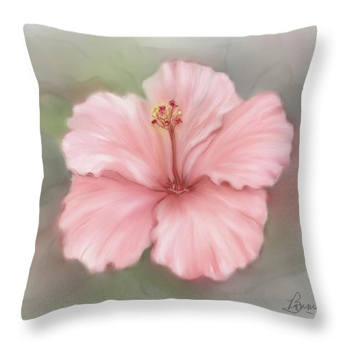 Floral Throw Pillow featuring the painting Hibiscus by Bonnie Willis