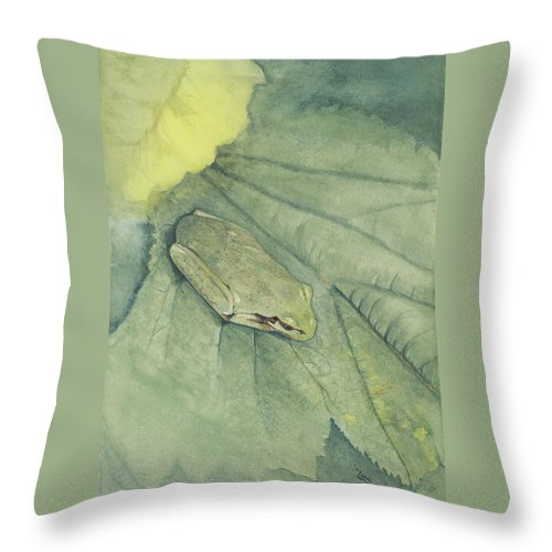 Frog Throw Pillow featuring the painting Hidden by Mary Tuomi