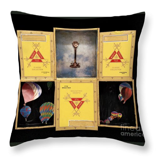 Cigar Boxes Throw Pillow featuring the mixed media High by Jaime Becker