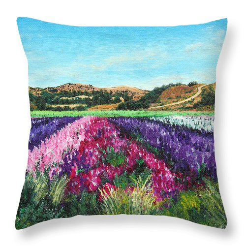 Highway 246 Throw Pillow featuring the painting Highway 246 Flowers 3 by Angie Hamlin
