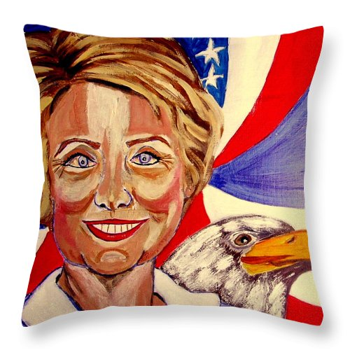 Hillimericks! Presidential Elections Throw Pillow featuring the painting Hillary Clinton by Rusty Gladdish