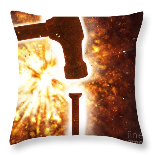 Hit The Nail On The Head Throw Pillow featuring the photograph Hit The Nail On The Head by Humorous Quotes