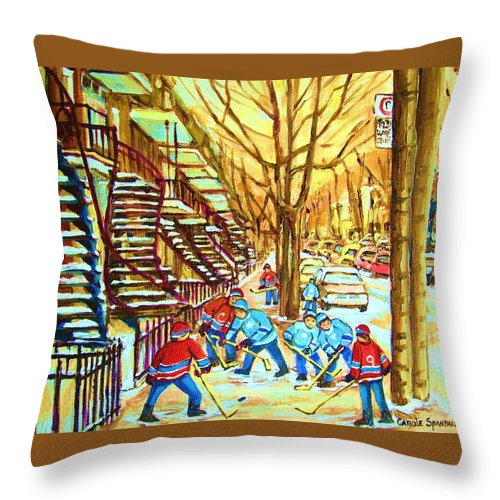 Montreal Throw Pillow featuring the painting Hockey Game Near Winding Staircases by Carole Spandau