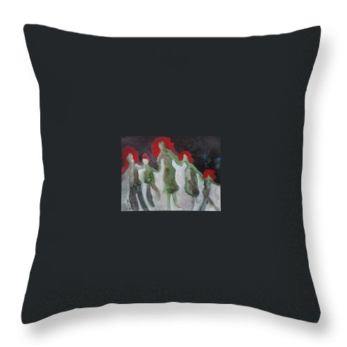 Abstract Paintings Throw Pillow featuring the painting Holding Hands by Seon-Jeong Kim