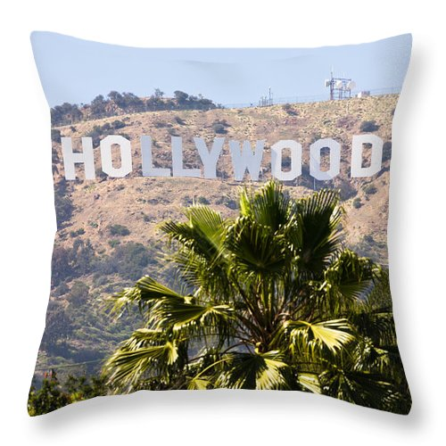 America Throw Pillow featuring the photograph Hollywood Sign Photo by Paul Velgos