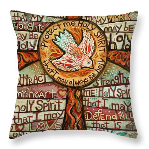 Jen Norton Throw Pillow featuring the painting Holy Spirit Prayer by St. Augustine by Jen Norton