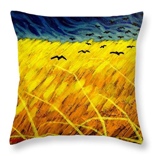 Acrylic Throw Pillow featuring the painting Homage To Vincent by John Nolan